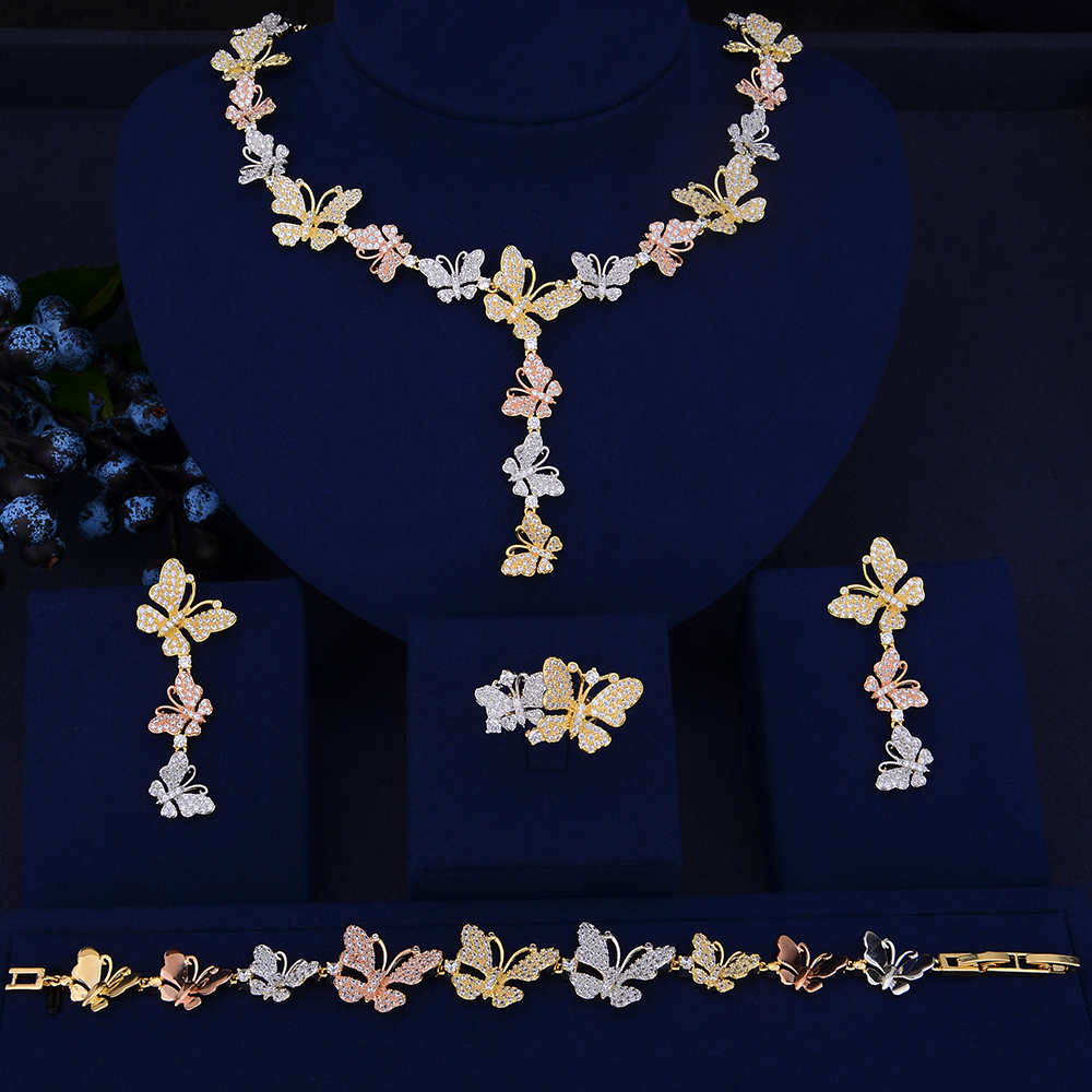 Unique Colorful Butterfly Jewelry African Collar Necklace Earrings Bracelet Ring Set Cubic Zirconia Jewelry ensemble bijoux retro rhinestone rattan butterfly bracelet with ring