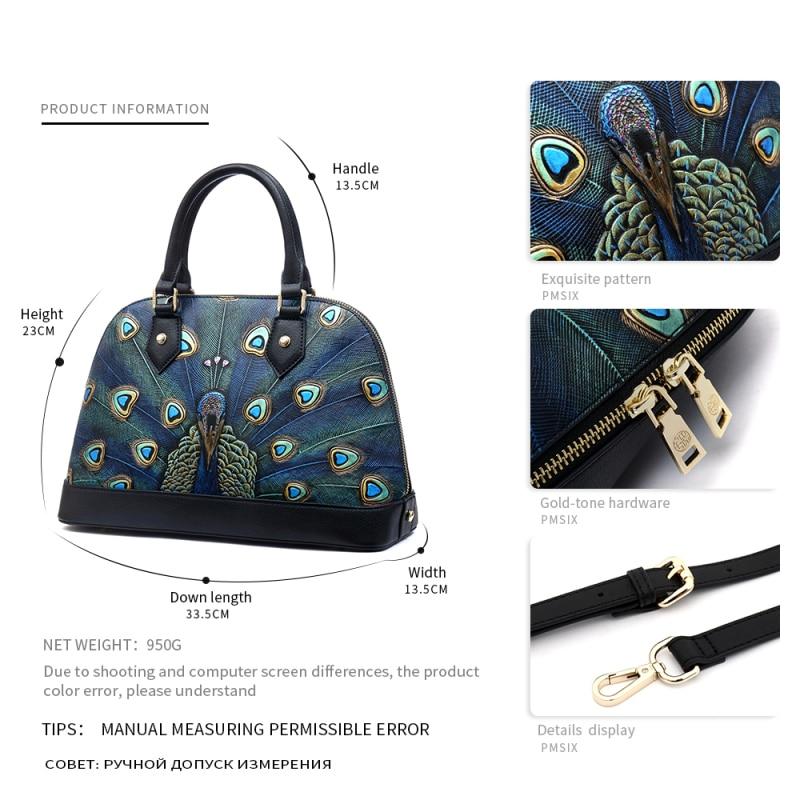 Pmsix estampado de animales bolsos de cuero genuino de la cáscara de la marca de las mujeres bolsos de diseñador conveniente sólido de alta calidad bolso de las mujeres - 4
