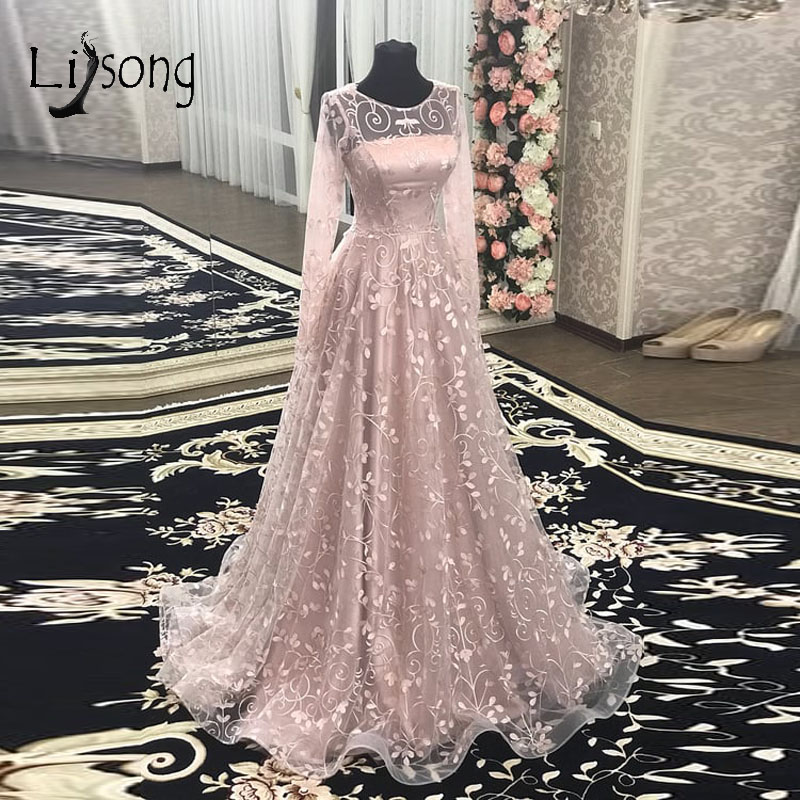 Modest Pink Floral Lace   Prom     Dresses   With Full Sleeves Elegant A-line Long Evening Gowns Vestido Formatura Abiye   Prom   Gowns