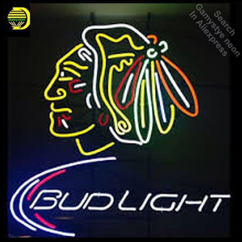 Budlight new yor rangers budweise beer Neon light GLASS Tube Sign Sports Store Display Handcraft anuncio luminoso Iconic Sign