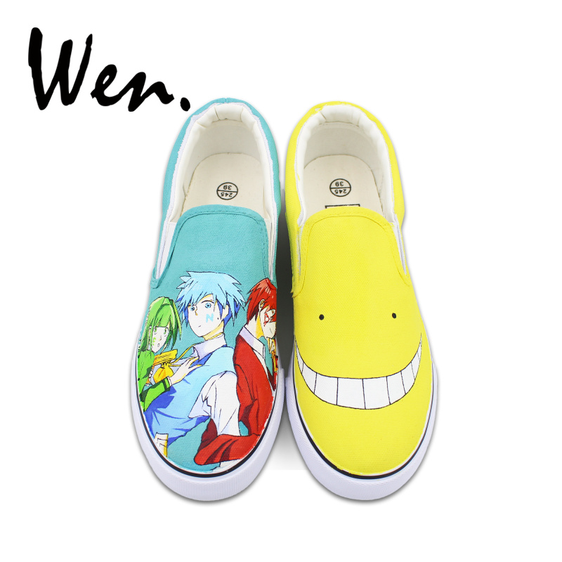 Wen Low Flat Hand Painted Shoes Woman Platform Sneakers Assassination Classroom Korosensei Slip-on Painting Canvas Shoes