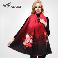VIANOSI 2016 Digital Printing Red Scarf Winter Thicken Warm Shawls And Scarves For Women Cashmere