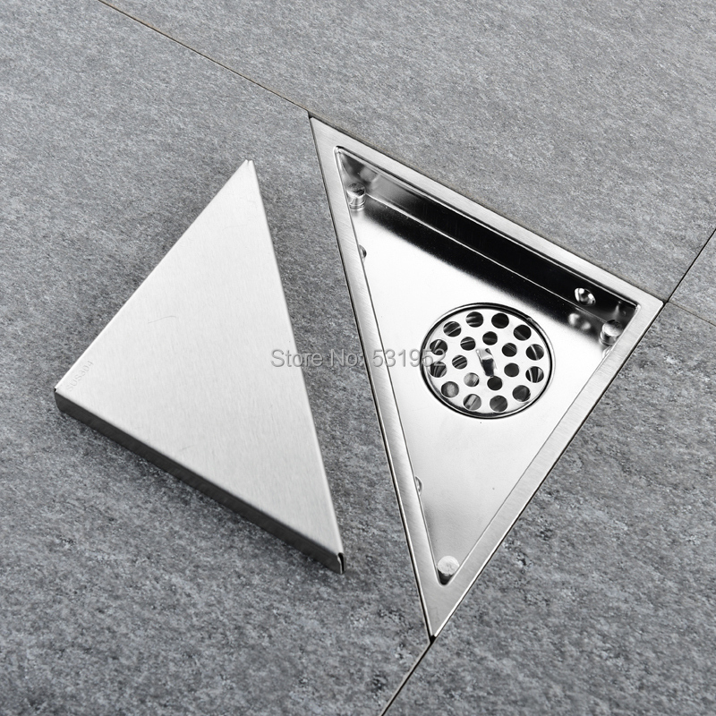 Triangle Invisible Floor Drain Balcony Bathroom Corner Floor Drain Deodorant Hidden Type Tile Insert Shower Drain Fast Drainage-in Drains from Home Improvement