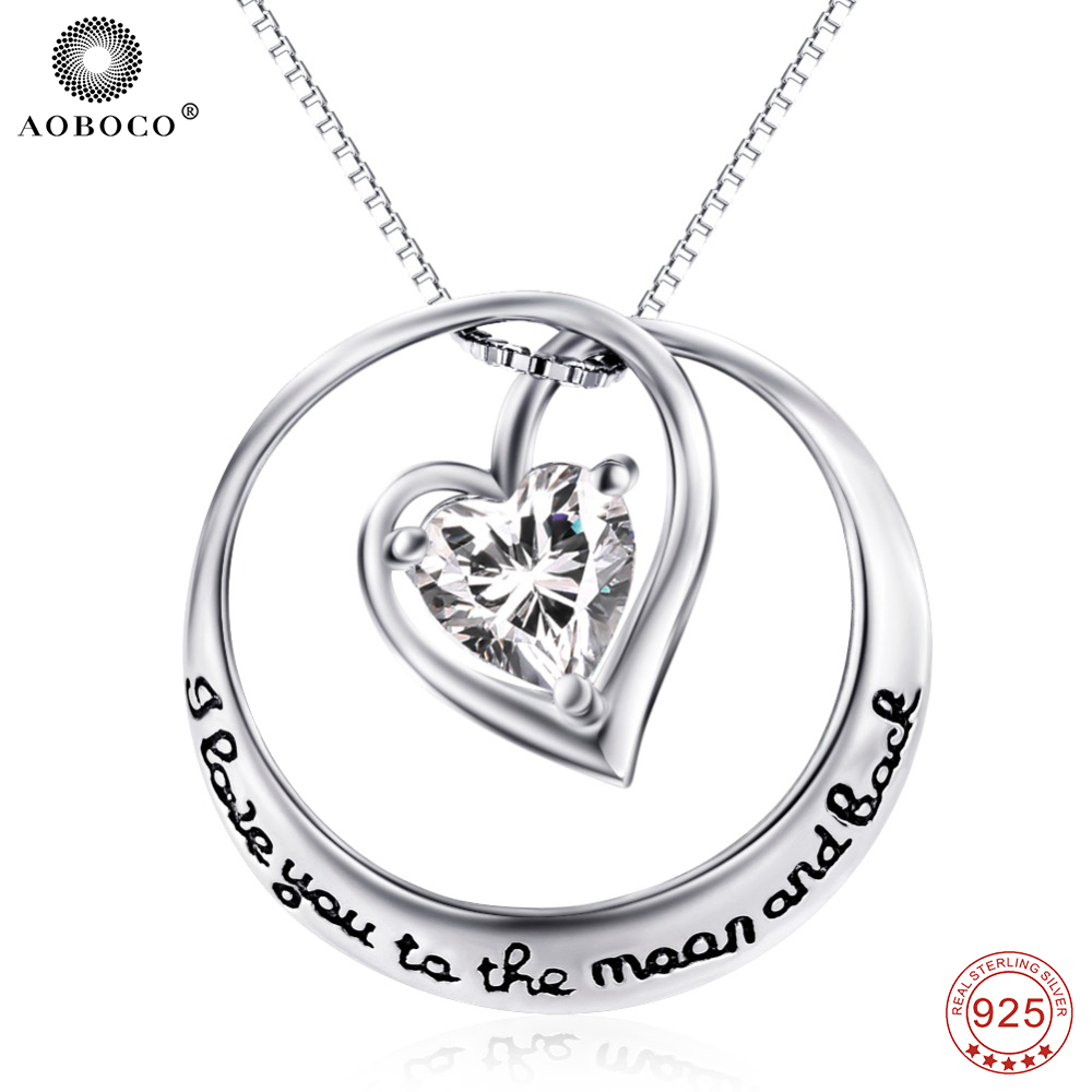 AOBOCO 925 Sterling Silver Crystal Pendants Necklaces Choker I Love You To The Moon And Back Necklace Jewery For Women GNX0498