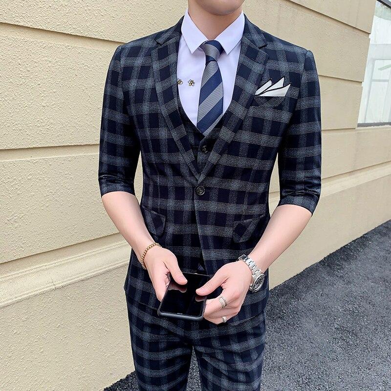 Мужской костюм, Весенний костюм, костюм джентльмена, бизнес, Корейская версия, костюм, брюки, двухсекционный комплект - 3