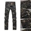 Mens Jeans Gastados Ripped Agujero de la Manera Recta Descremada Robin Jeans para Hombres Famosa Marca Casual Jeans Hombres Pantalones Más El Tamaño: 30-38
