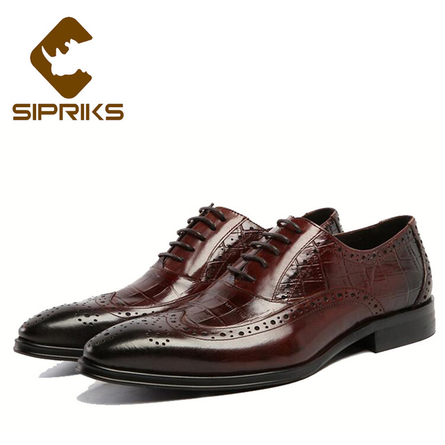 543cfdd9179 Sipriks Men Burgundy Wingtip Dress Shoes Classic Black Crocodile Skin  Brogue Oxfords Shoes British Style Formal Men Shoes Social
