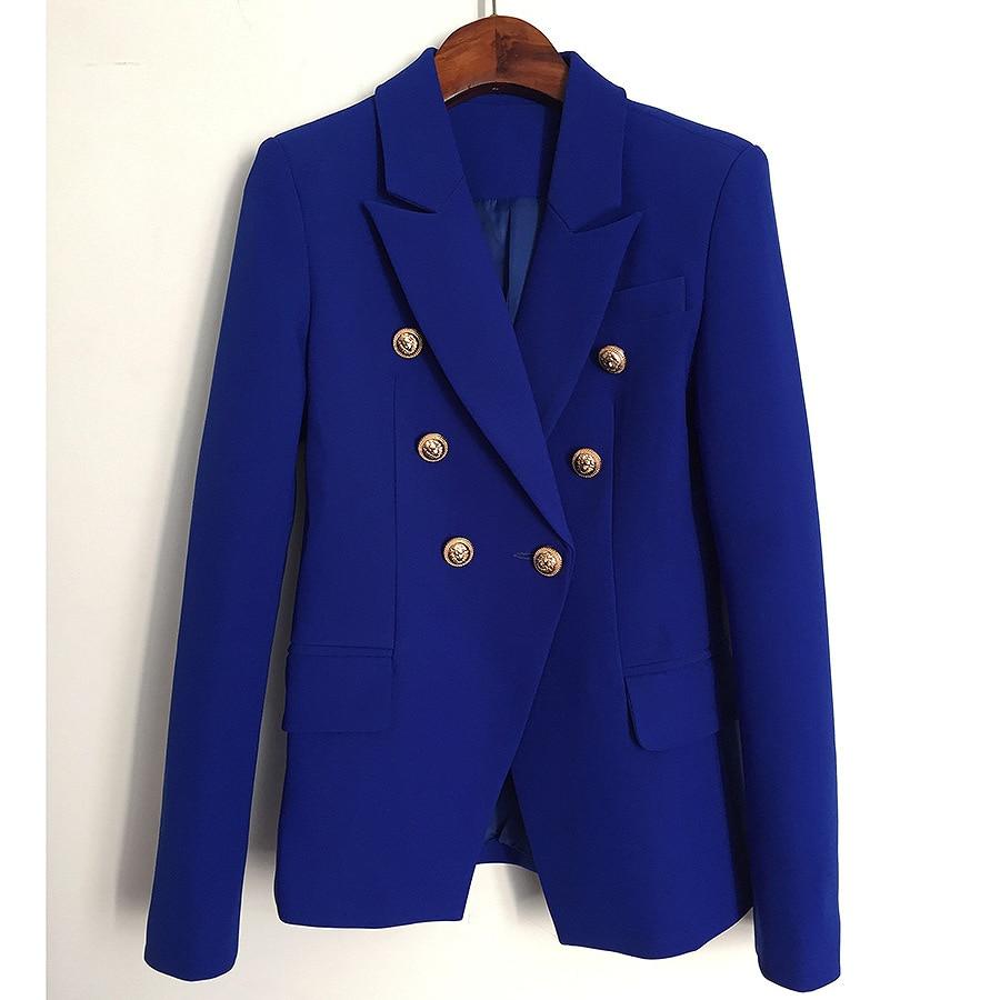 Newest 2019 Spring Blazer Feminino Metal Lion Buttons Double Breasted Blazer Jacket Women
