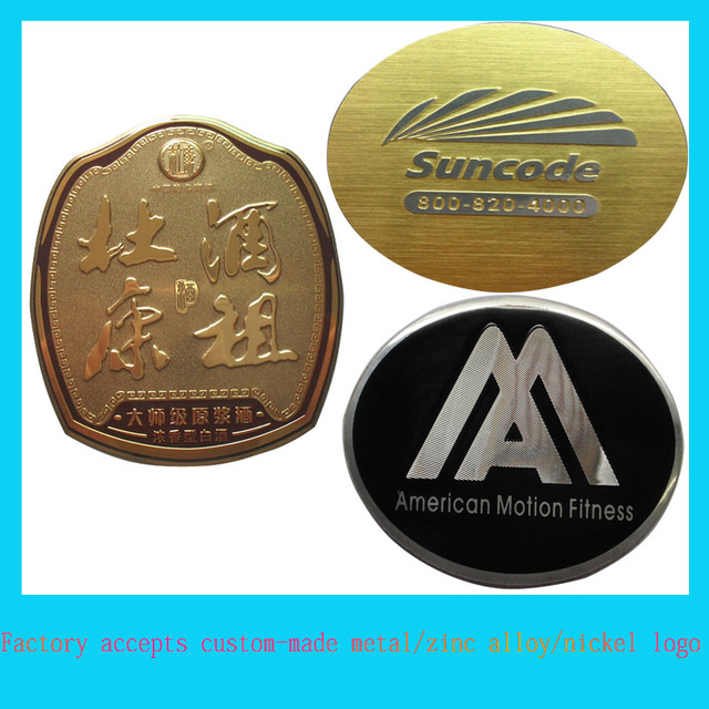 Custom metal beer labels badges logo stickers wholesale metal display label plate
