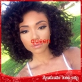 Short Afro Kinky Curly Synthetic Lace Front Wigs Heat Resistant Natural Black Short Bob Synthetic Wigs For Black Women In Stock