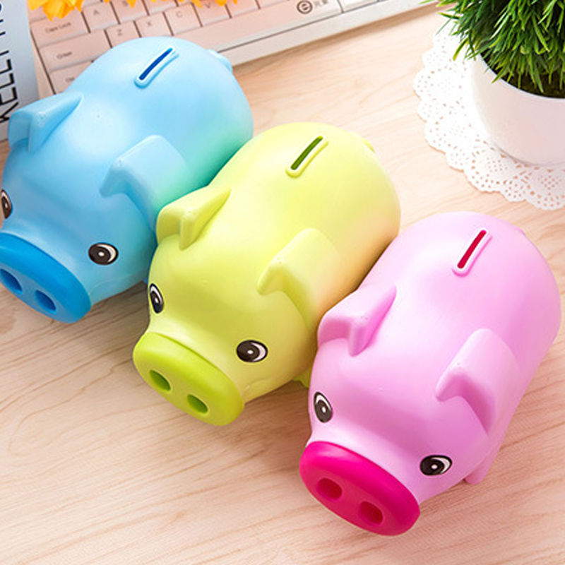 Kids Gifts Portable Cute Plastic Piggy Bank Saving Cash Coin Money Box 3 Colors Available