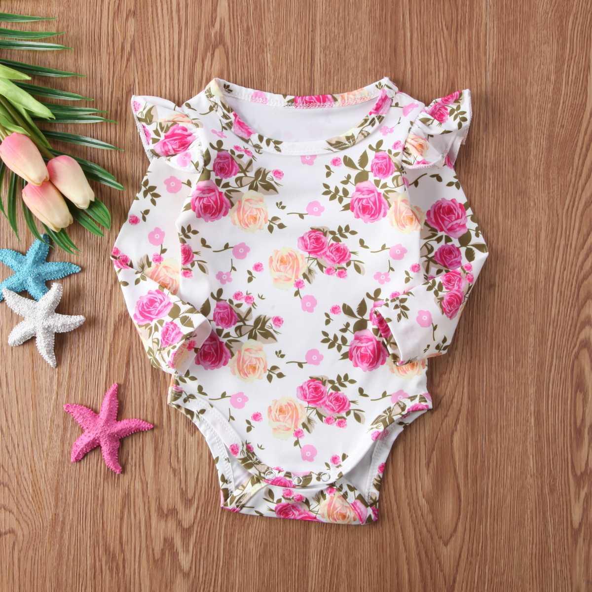 Мода 2018, милый комбинезон с цветочным рисунком для новорожденных девочек, гофрированная Роба, одежда