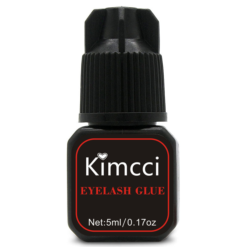 Kimcci 5ml Eyelash Extension Glue 1-3 Seconds Fast Drying Eyelashes Glue Pro Lash Glue Black Adhesive Retention Long Last