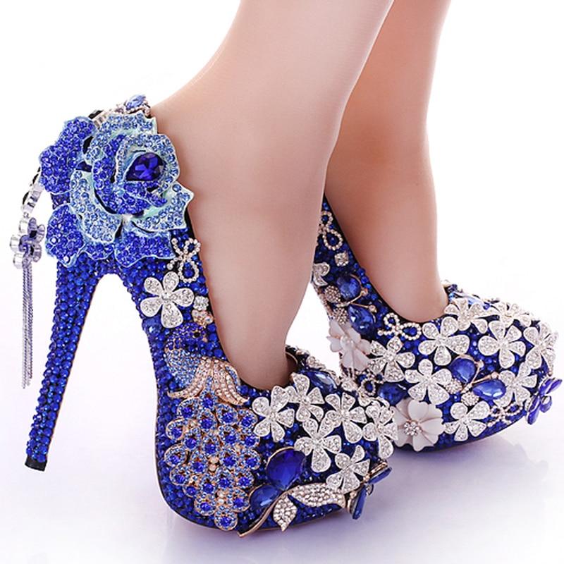 Blue Crystal Wedding Dress Shoes Rhinestone Peacock Gorgeous High Heel Nightclub Prom Bridal In Womens Pumps From On