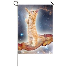 Funny Bacon Cat In Space Garden flag Seasonal Flags for Outdoors Decor