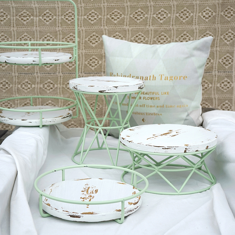 Vintage Wood Dessert Candy Display Tray Wedding Tableware Food Plates Cake Cupcake Stands Kids Birthday Decoration Dinnerware