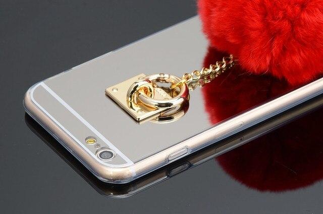 Pierścień na telefon z futerkowym pomponem różne kolory iPhone 5 5S SE 6 6S 6/6S Plus 7 Plus
