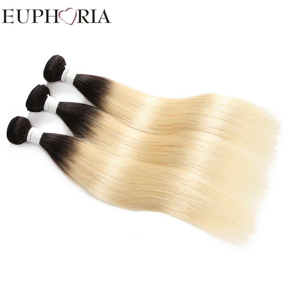 Brazilian Straight Hair Weave Bundles 1/3/4 Pieces Ombre Black Blonde 613 Color EUPHORIA Remy Human Salon Hair Weft Extensions