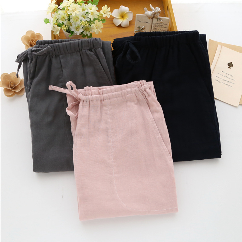Lovers' Sleeping Pants Gauze Women's Household Trousers Pure Cotton Laced Trousers Men's Trousers Lounge Pants Pajama Pants Mens