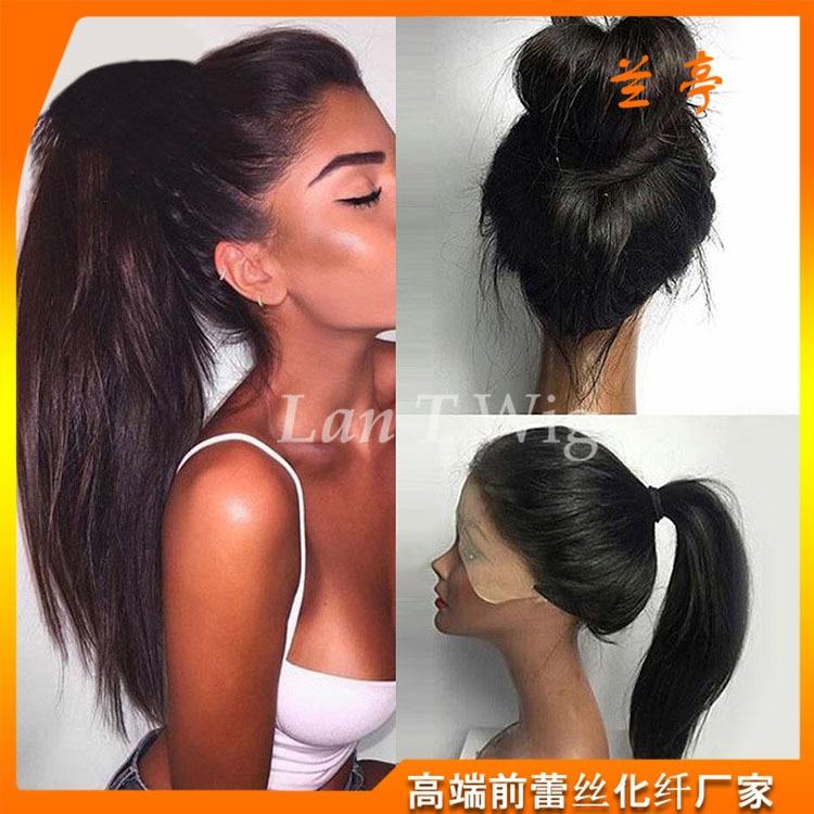 Nouvelle haute qualité cheveux raides Europe américain chaud scrunchie perruque pour les femmes bandeau cheveux accessoires pour dames livraison directe