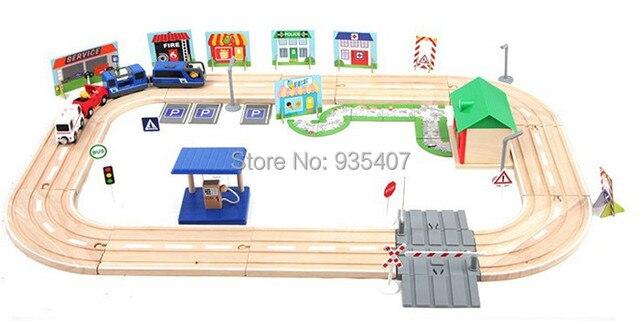 Дерево игрушка дерево поезд треки 80 шт блоки электрическая локомотив