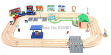 New wooden toy train tracks 80 pcs blocks Electric locomotive