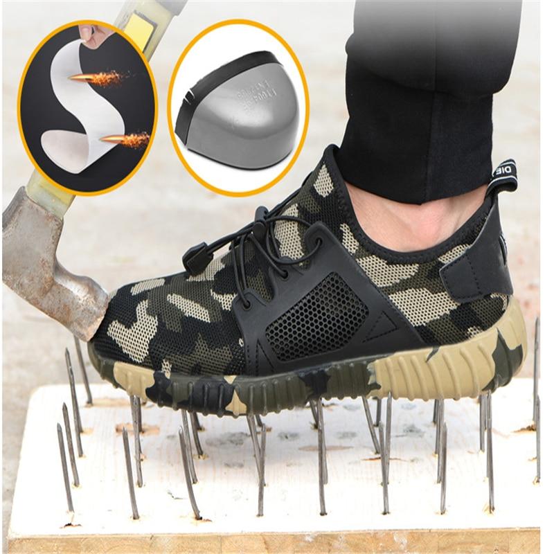 2019 Moda Unissex Botas de Biqueira de Aço Sapatos de Segurança de Proteção Não-slip-resistente ao Desgaste Tênis Verão Dos Homens e mulheres Trabalham Sapatos