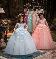 Puffy tulle Half sleeves light blue floral flower girl dress ball gown little kid pageant princess gown for party special event