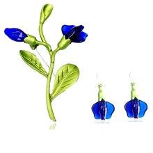 CSxjd Винтажная брошь акриловая синяя цвет золотые колокольчики цветок листья ветки Зеленая краска брошь, шарфы, пряжки аксессуары