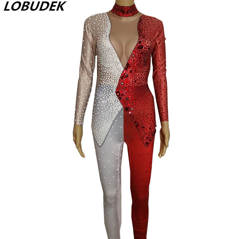 European style female singer DJ DS Costume Bar Party star dancer stage outfit white red leotard jumpsuit Sparkly Stones Jumpsuit