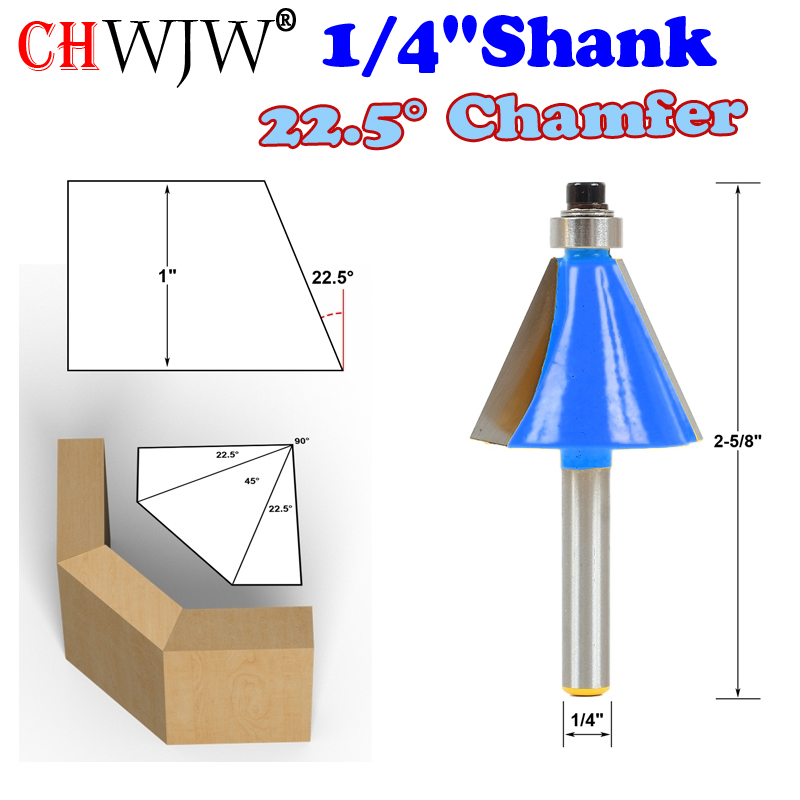 "1pc 1/4"" Shank 22.5 Degree Chamfer & Bevel Edging Router Bit  woodworking cutter woodworking bits - Chwjw-13904q"