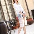 2016 verano nueva flor del cordón del tamaño de manga larga femenina cardigan largo chal capa fina ropa de protección solar de aire acondicionado ropa
