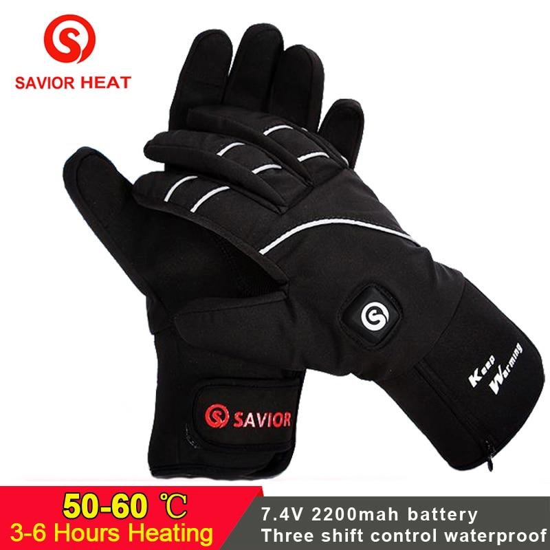 Спаситель Электрический перчатки с подогревом на батарейках водостойкий сенсорный экран химической руки теплые перчатки для зимних видов ...
