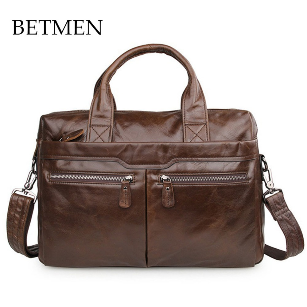 BETMEN Luxury Vintage Genuine Leather Bag Men Brand Handbag Business Casual Male Shoulder Bags Men Briefcase Laptop Bag