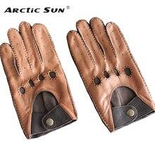 Męskie oryginalne skórzane rękawiczki męskie oddychające modne klasyczne kozie bez podszewki cienka wiosenna letnia rękawice do jazdy TB15