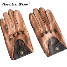 Mens Genuine Leather Gloves Male Breathable Fashion Classic Goatskin Unlined Thin Spring Summer Driving Mittens TB15