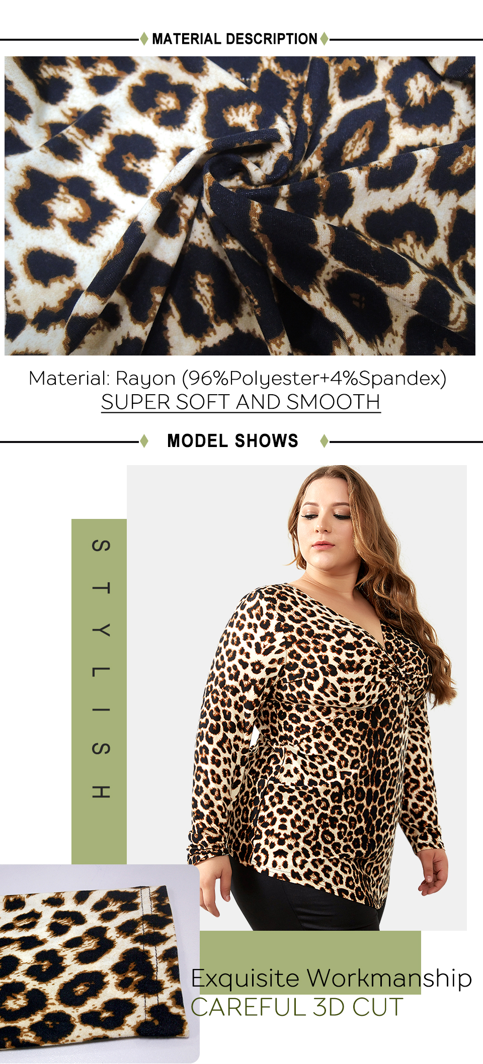 c4852b2513871 2019 YTL Female Big Size Spring Autumn Grey Leopard Deep V Neck Long ...