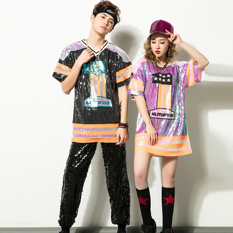 Adult Jazz Dance Costumes New Hip Hop Disco Colorful Sequins Jazz Tshirt Street Dance Pants Clothing Women Mew Stage Performance