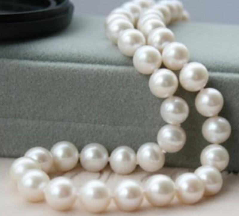 Beau 10-11mm AA + blanc mer du sud collier de perles 17