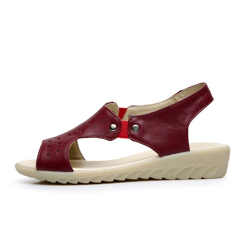 Grande Mujer 43 Genuino Vaca Gratis Moda Talla rojo 100 Envío blanco Verano Cuña Sandalias Para verde Zapatos Eu Negro De Cuero aOWOn17Y