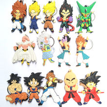 1 pcs New Dragon Monkey Keychain Son Goku Super Saiyan Silicone PVC Keychain Action Figure Pendant Keyring Collection Toy ZKDBF(China)