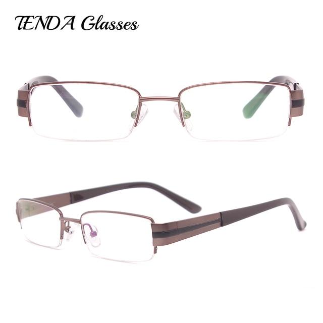 1ed954bd7 معدن نظارات إطارات النظارات نصف حافة المستطيل الرجال الكلاسيكية النظارات  الطبية لقصر النظر و القراءة