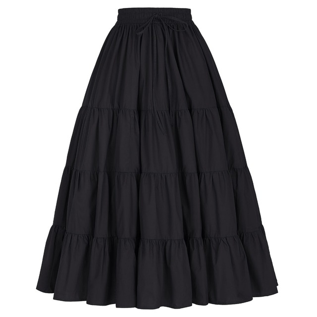 Fashion Black Pleated Women Skirts Autumn Winter Free Size Casual Long Skirt Cotton High Waist Vintage Maxi Skirt  Faldas Saia