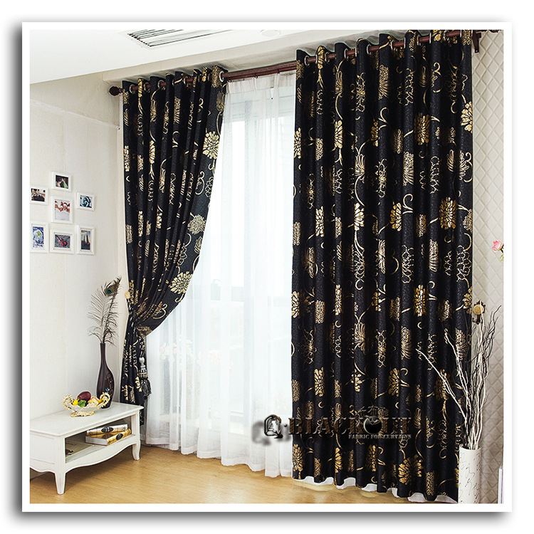Anticorrosive metal grommet beautiful black and gold - Black and gold living room curtains ...