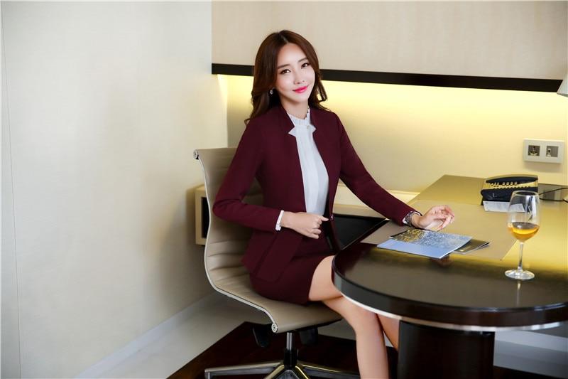 b3ca2196b5e AidenRoy Formal Office Uniform Designs Women Business Suits Skirt and Jacket  Sets Ladies Wine Red Blazer Elegant
