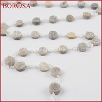 BOROSA Gold Silver Color Round Crystal Titanium AB Druzy Beads Wire Wrapped Rosary Chain Drusy For