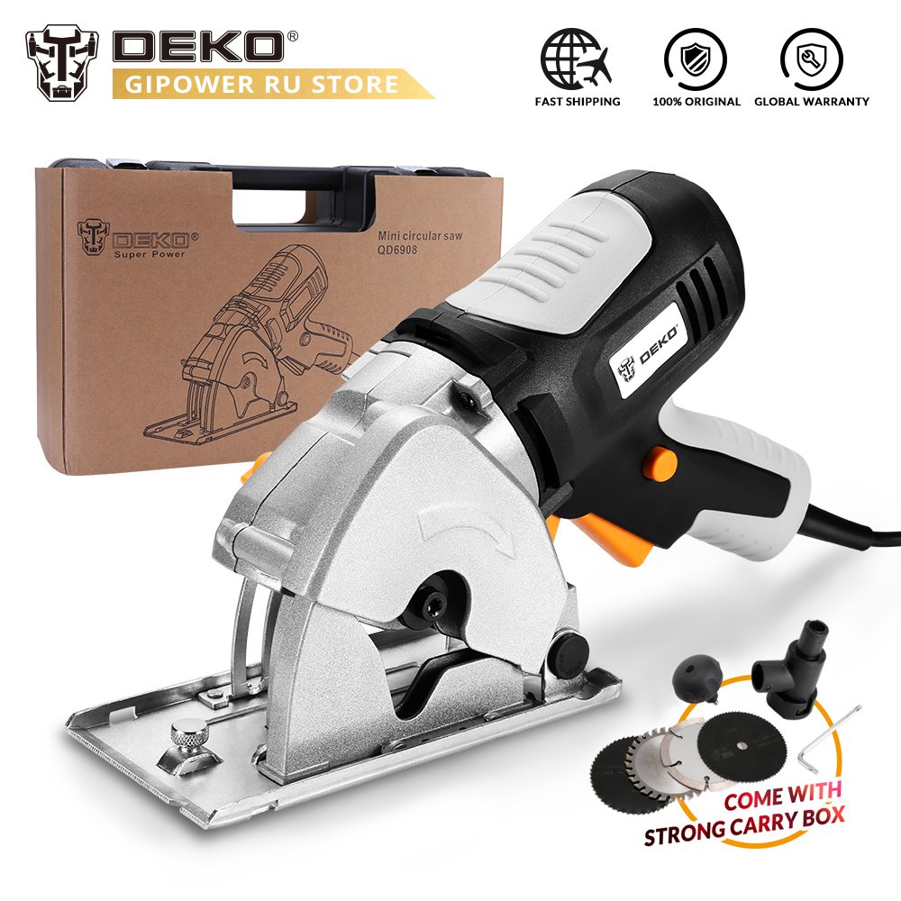 DEKO QD6908B 600W Mini sierra Circular con 4 cuchillas caja BMC seguridad Personal Sierra de madera eléctrica sistema de seguridad eléctrica hogar DIY