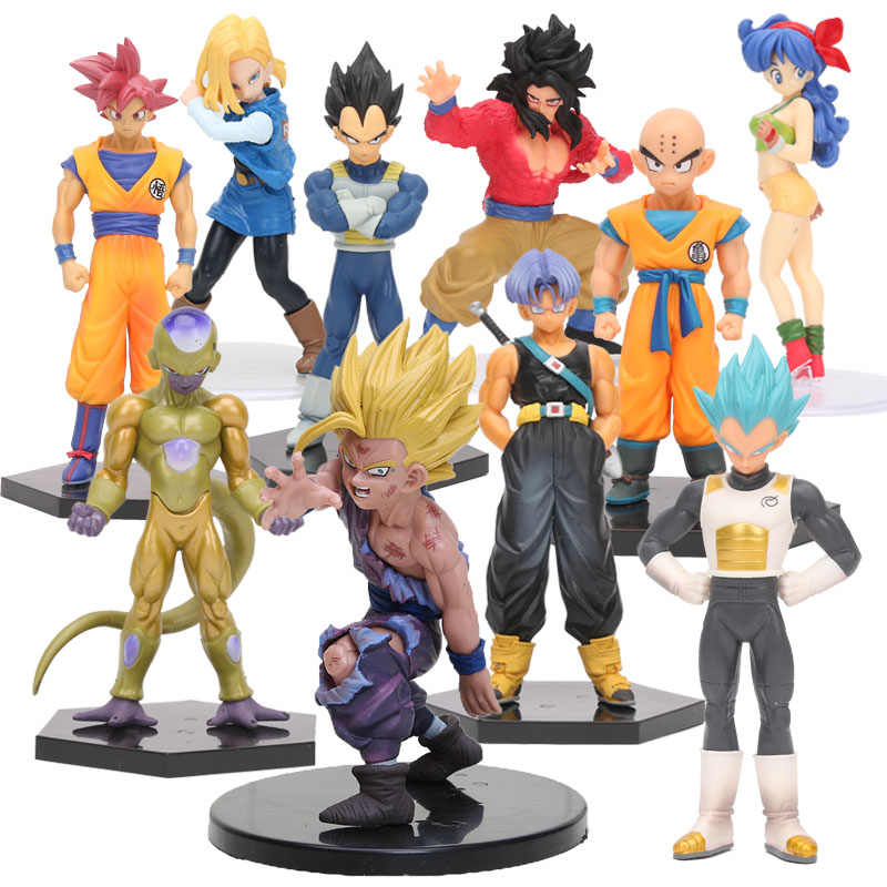 Dragon Ball Son Gohan Kuririn Figura VITRINE DRAMÁTICA Lunchi Vegeta Freeza Trunks PVC Action Figure Collectible Modelo Toy