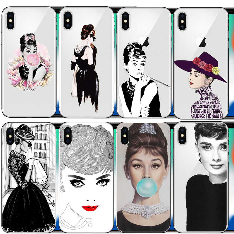 Audrey Hepburn fashion girl lady cell   Hard PC Phone  case  For iphone 6 6S 7 8 Plus 5S 5 SE X 10 XR XS Max 11Pro MAX 11Pro 11
