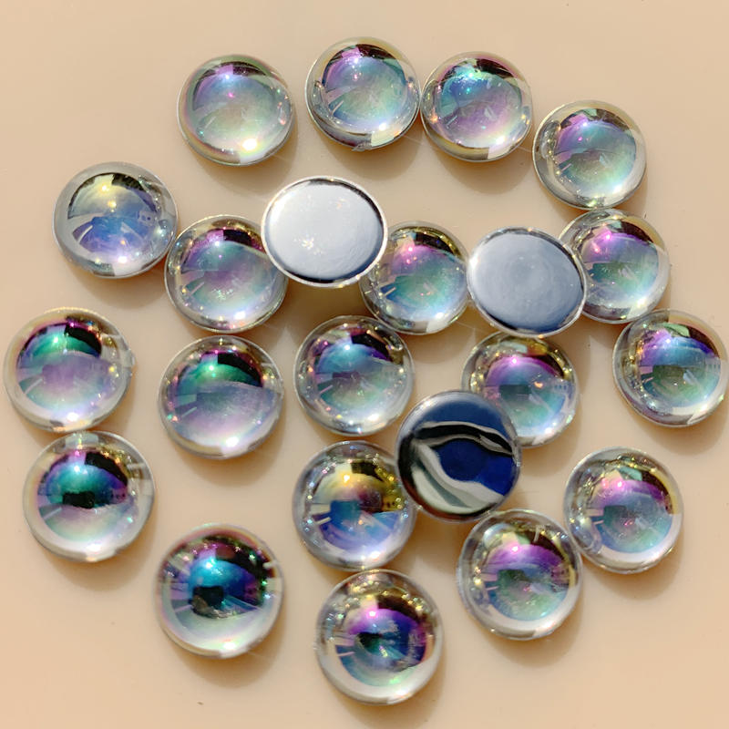 Mixed 80pcs 12mm Round Flower Flat Back Acrylic Gems Sewing On Clothes Beads DIY